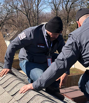 The Reqion Public Adjusters team performing a roof inspection in Munster Indiana